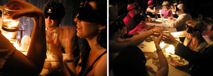 La Fourchette fidélisation client - les gens mangeant les yeux bandés dans le restaurant Dans Le Noir