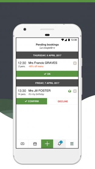LaFourchette Mobile App confirm a reservation