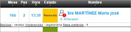 software restaurante - imagen de ficha de cliente de ElTenedor Manager