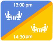 Logiciel de gestion de restaurant: image graphique avec des horaires pour doublez les tables de restaurant. LaFourchette
