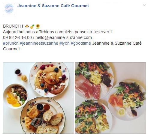 LaFourchette Un aimant pour trouver des clients : le brunch Jeannine & Suzanne Café Gourmet - restaurant