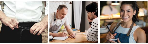 personeel aannemen baas van restaurant interviewt een kelner, kelner neemt bestelling op, chef-kok doet zijn schort goed